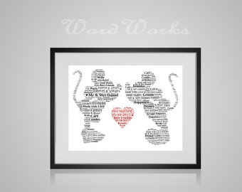 "Personalised Mickey and Minnie Wedding Word Art Gift  **Buy 3 prints get the 4th FREE**  Use coupon code "" MYFREEONE """