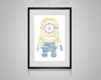"Personalised Minion Word Art  **Buy 3 prints get the 4th FREE**  Use coupon code "" MYFREEONE """