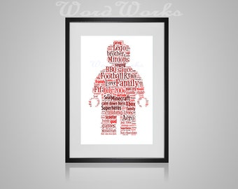 "Personalised Lego Man Word Art **Buy 3 prints get the 4th FREE**  Use coupon code "" MYFREEONE """