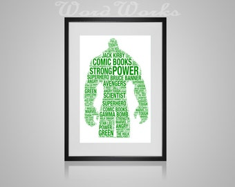 "The Hulk Word Art  **Buy 3 prints get the 4th FREE**  Use coupon code "" MYFREEONE """