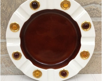 50s brown, white, and gold beaded ceramic ashtray