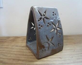 Discounted Ceramic Lantern- Handmade ceramic candle holder lantern- purple pottery with flowers