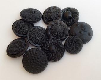 Black vintage glass button lot-11 pc