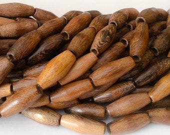 "Tube Wood Beads, Natural wood beads, Robles 16"" strand"