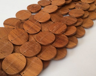 10 Bayong wood beads, Natural wood beads, connector discs