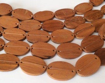 Wood disc oval bayong, natural wood beads, wood connectors 10pc
