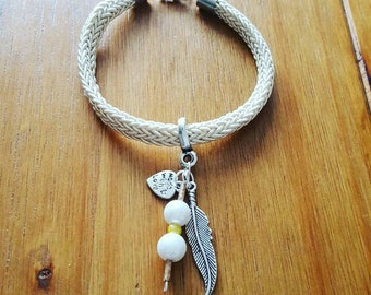 Cream cord charm bracelet - available in different charms