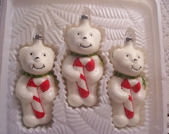 Three Bear with Candy Cane Christmas Ornaments