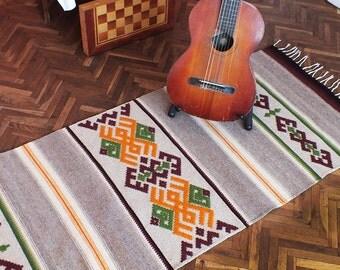 Handwoven wool rug with ornaments, stylish home decor rug, kilim rug, ornamental rug, bohemian rug, tribal rug