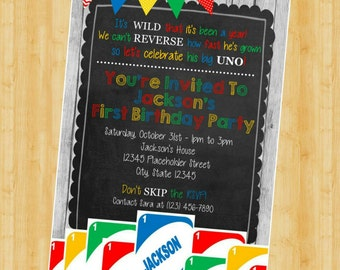 UNO Birthday Invite - First Birthday Invitation - DIY Printable File - Multi-color
