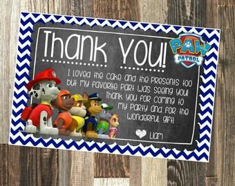 Paw Patrol Thank You - Paw Patrol Thank You Note - DIY Printable File