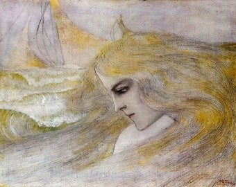 "Jan Toorop ""Oceanide"" 1893 Reproduction Digital Print Vintage  Art Nouveau Woman Ocean"