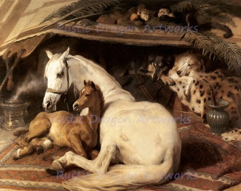 "Sir Edwin Henry Landseer ""The Arab Tent""  1866 Reproduction Digital Print Horse Colt Dog"