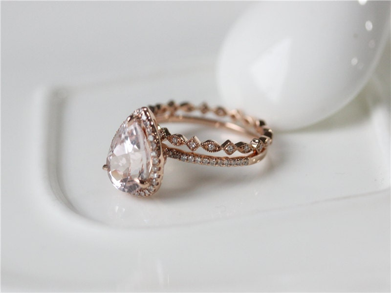 Ring SetMorganite Ring Rose Gold Pear Cut Morganite