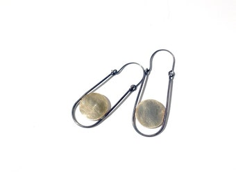 celestial bodies - total eclipse earrings - sterling silver and brass disk