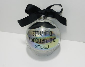 Mustache Ornament, Staching through the Snow