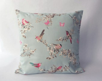 Cushion cover - made with a duck egg blue 100% cotton fabric with birds and butterflies. Sizes 40, 45, 50 cm - 16, 18, 20 inch