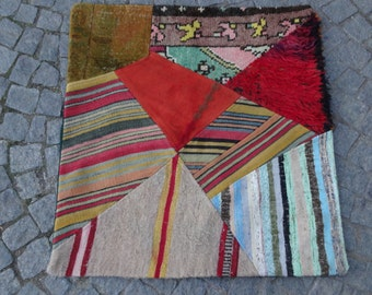 37x38in.- 94x97cm Multicolor Anatolian handmade patchwork oversize floor pillowcover including insert