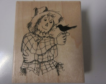 "LARGE 2.5"" x 3 "" Scarecrow Rubber Stamp-Fall Stamps"