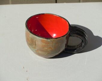 Ceramic Pottery Hand Carved Hand Made Hand Thrown Wheel Thrown Round Mug