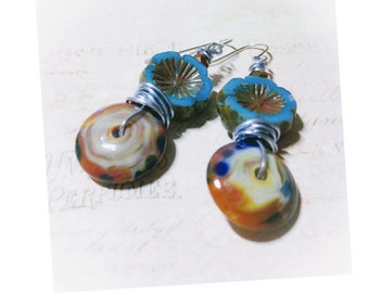 Miss Smith walks the fields - long beaded earrings, hand crafted, blue tones