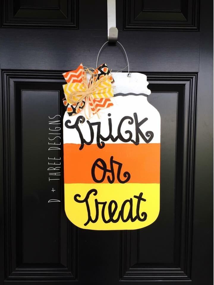 Fall Door Hangers Wooden Mason Jar