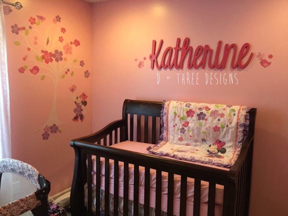 Wooden Wall Decor For Nursery : Painted script connected wood wall name nursery decor