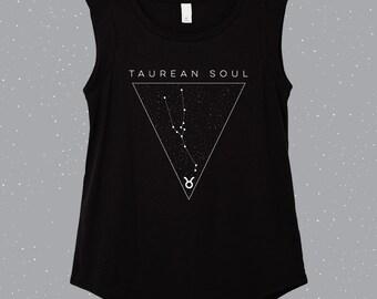 Taurean Soul | Taurus  Sleeveless Shirt, astrology shirt, constellation shirt, Zodiac shirt, Zodiac clothes