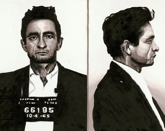 Johnny Cash - Mugshot Fine Art Print - 12x18