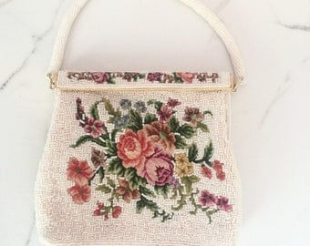 Vintage 1950s White Petit Point Floral Embroidered Purse | White Beaded & Embroidered Handbag
