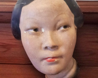 Vintage 1930s Chalkware Lady / Woman Head / Bust / Asian Influence