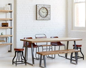 Industrial Rustic Reclaimed Wood - Plank Top Dining Table - 183x90cm