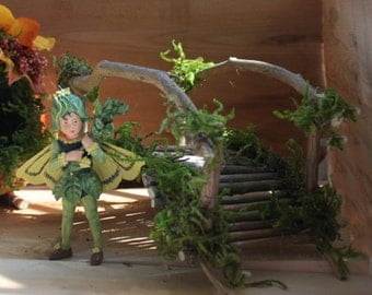 Miniature Bridge, Fairy Garden, Fairy with Bridge ~ Handcrafted by Olive  (Includes Heirloom Boxtree Fairy) Fairy, Faery, Fae,