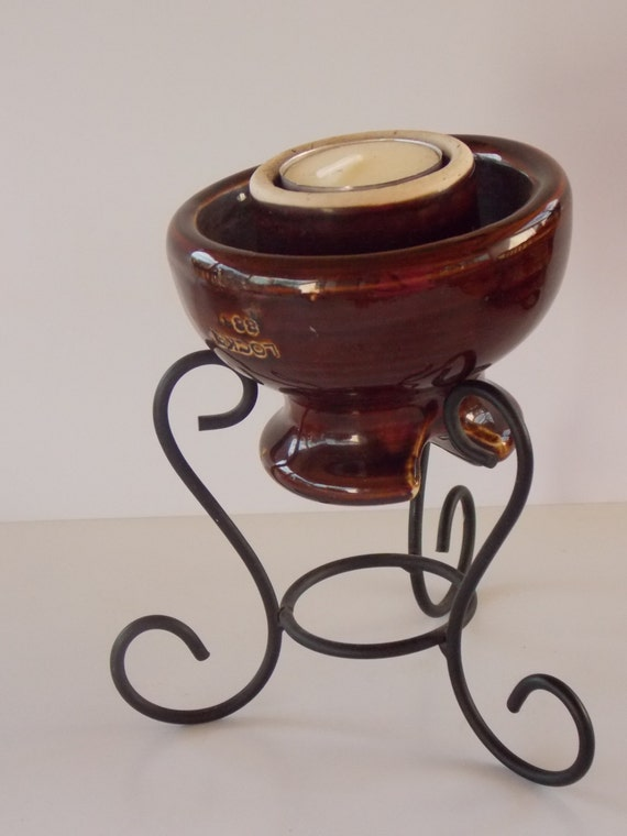 Vintage brown ceramic insulator candle holder with stand for Insulator candle holder