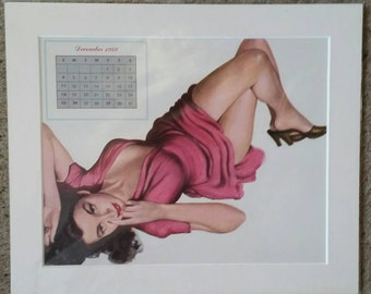 Original December 1949 pin up calendar page