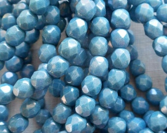 25 6mm Opaque Blue Denim Luster beads, firepolished, faceted round Czech glass beads C6425