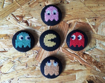 Retro Vintage Pacman Ghost Geek Cross Stitch Buttons