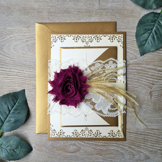 YVETTE - Plum and Gold Lace Wedding Invitation - Lace Belly Band - Ivory Lace Wrap with Plum Chiffon Flower and Gold Feathers
