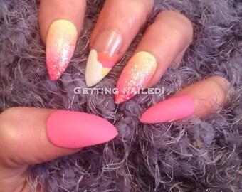 Hand painted princess glitter rainbow  false nails *stick on nail* false nails * fake nails * handpainted nails * press on nails