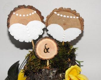 Mrs & Mrs Wedding cake Topper ~ LGBT wedding - Rustic Wedding -  Bride and Bride  - Wood cake topper - Woodland  Country wedding ~ At last