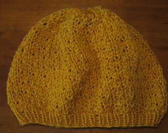 Mustard Yellow Slouch Knit Beanie