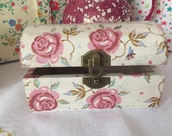 Decoupaged/Decopatched Jewellery/Trinket Box in Emma Bridgewater Rose & Bee