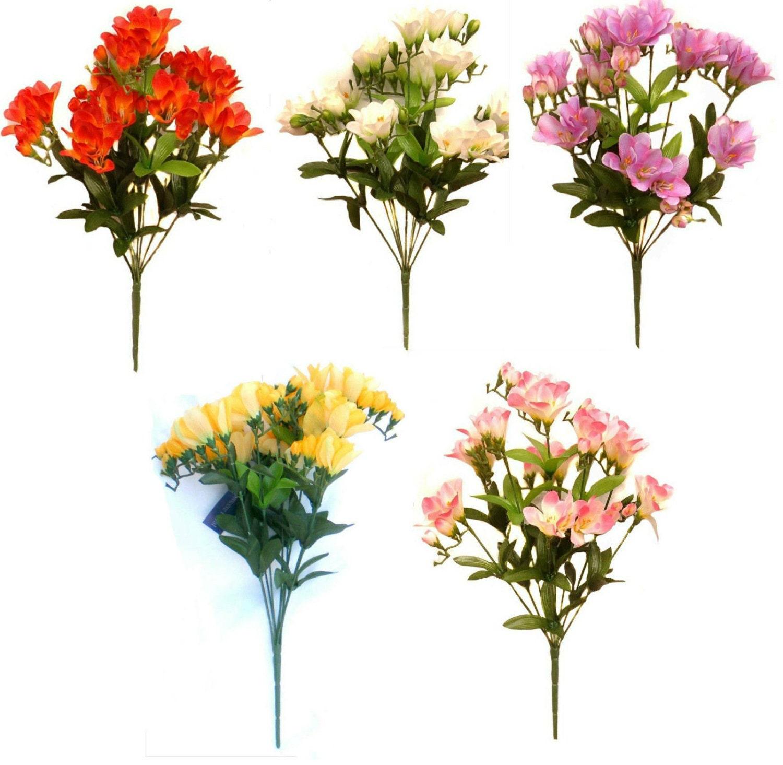 40cm 9 Stem Freesia Bouquet Artificial Silk Flowers Wedding