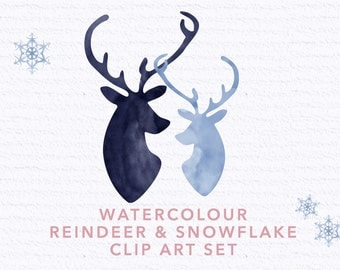 Reindeer and Snowflake Watercolour Graphics | Clip Art | Christmas | Scrapbooking