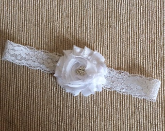 White Headband,Baby headband, Pink Baby headband, Pink Rhinestone Headband, White Lace baby headband Photo Prop, Headband for newborns,Infan