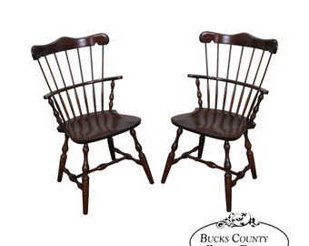s bent bros pair solid maple windsor chairs