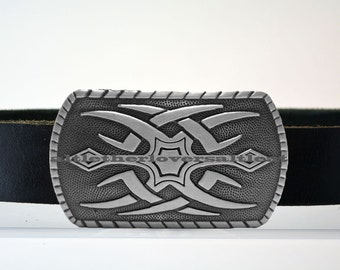 Leather Belt with Maori Tattoo Buckle