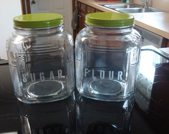 Set of 2 Etched Glass Kitchen Canisters / Sugar And Flour Jars / Made in USA