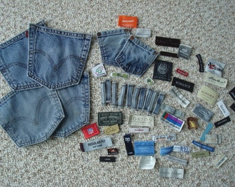 Reclaimed / Recycled Denim Pockets , Belt Loops And Assorted Clothing Tags