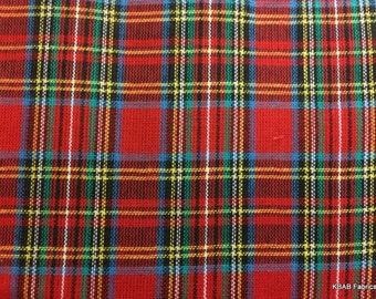 ROYAL STEWART TARTAN Fabric 3 yards Red & Green Scottish Plaid Fabric w6/1